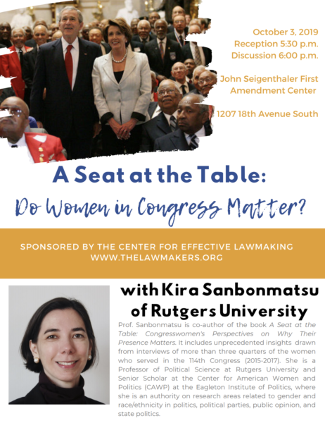 "Event poster for ""A Seat at the Table: Do Women in Congress Matter?"" featuring Rutgers Professor Kira Sanbonmatsu"