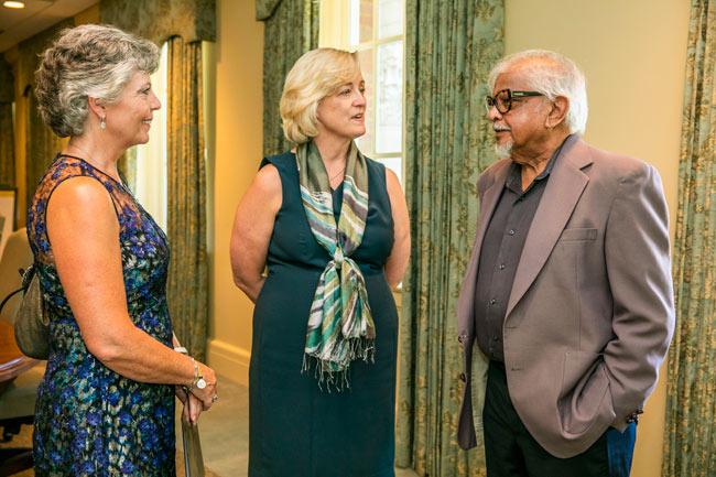 L-r: Peabody College Dean Camilla Benbow, Interim Chancellor and provost Susan R. Wente and Arun Gandhi. (Anne Rayner/Vanderbilt)