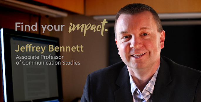 "Portrait of Jeff Bennett in office with ""Find Your Impact"" logo and his name and title superimposed on left side of image"