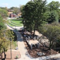 The newly transformed Green and Kensington Promenade now feature fresh landscaping as well as pedestrian and bike-friendly pathways. (Vanderbilt University)