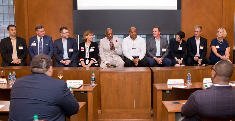 Senior leaders addressed Vanderbilt Leadership Academy participants for 2019-20 at the cohort's first meeting in August. (Susan Urmy/Vanderbilt)