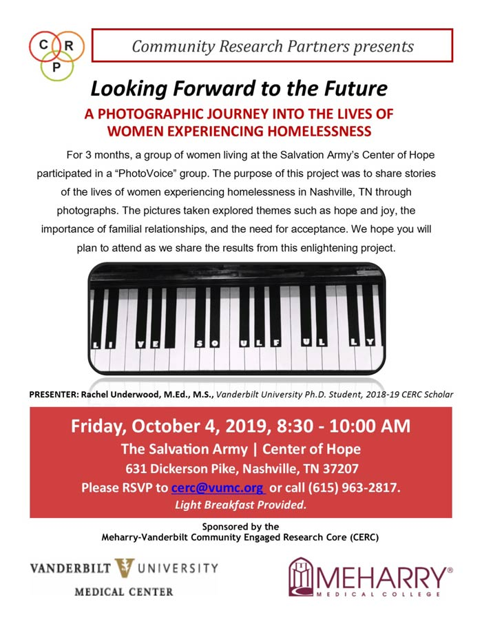 """Looking Forward to the Future: A Photographic Journey into the Lives of Women Experiencing Homelessness"" flyer"