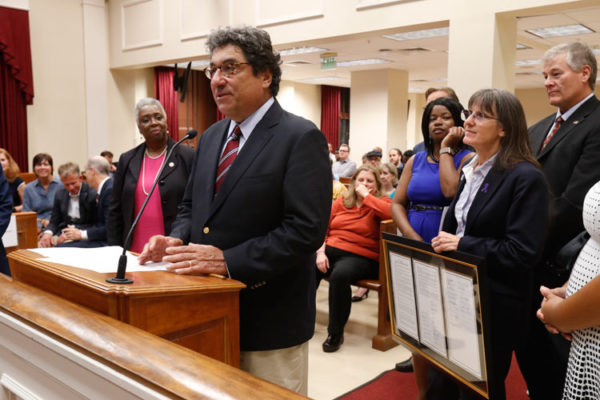 Chancellor Emeritus Nicholas S. Zeppos was honored by the Metro Council on Oct. 1 for his service to Vanderbilt and Nashville. (Wade Payne/Vanderbilt University)