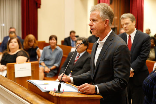 Vanderbilt head baseball coach Tim Corbin and the Commodore baseball team were honored by the Metro Council at the Oct. 1 meeting. (Wade Payne/Vanderbilt University)