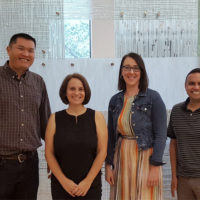 "Tara McKay (second from left) will lead the study in collaboration with (l-r) Christopher ""Kitt"" Carpenter, Lauren Gaydosh and Gilbert Gonzales. All four work with the LGBT Policy Lab, an initiative funded through a 2017 Trans-Institutional Programs award. (Vanderbilt University)"
