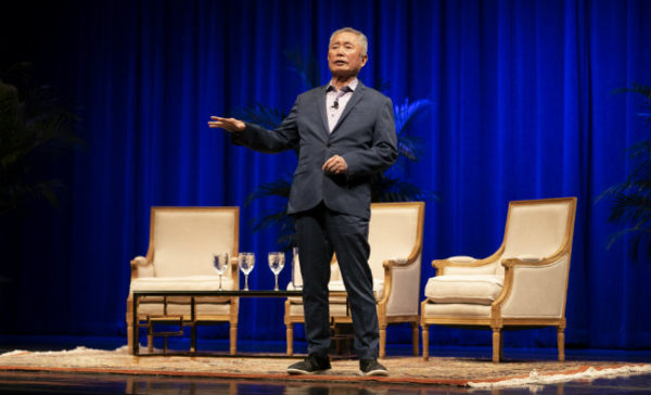 """Actor George Takei shared his journey from """"Star Trek"""" to human rights activism during the Chancellor's Lecture on Oct. 2. (Joe Howell/Vanderbilt)"""