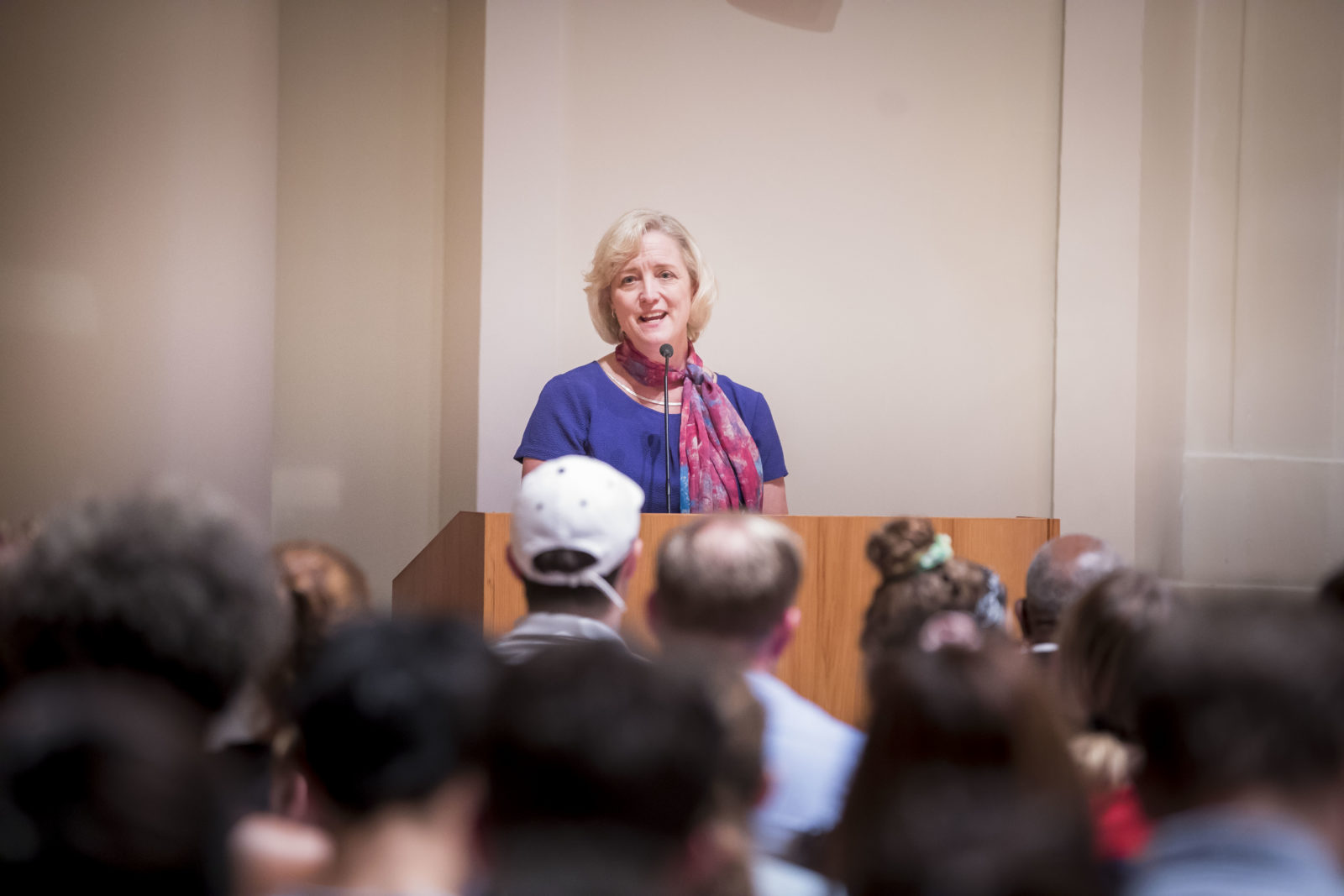 Interim Chancellor and Provost Susan R. Wente speaks at join lecture series with Professor Robert Bullard (Susan Urmy/Vanderbilt)