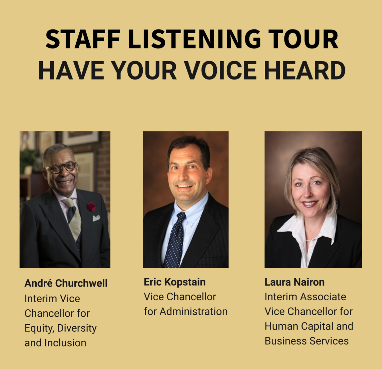 Staff Listening Tour Have Your Voice Heard graphic