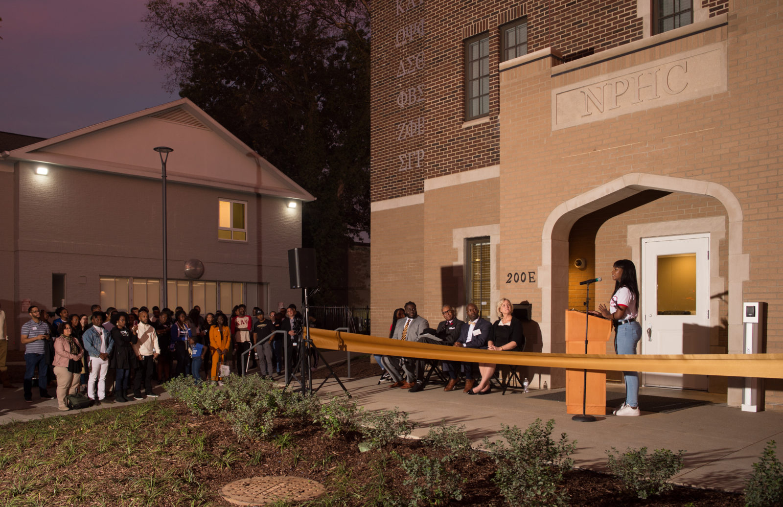 NPHC President Gabrielle Dyson speaking at the National Pan-Hellenic Council House house ribbon-cutting at Vanderbilt University on Oct. 18, 2019. (Price Chambers for Vanderbilt University)