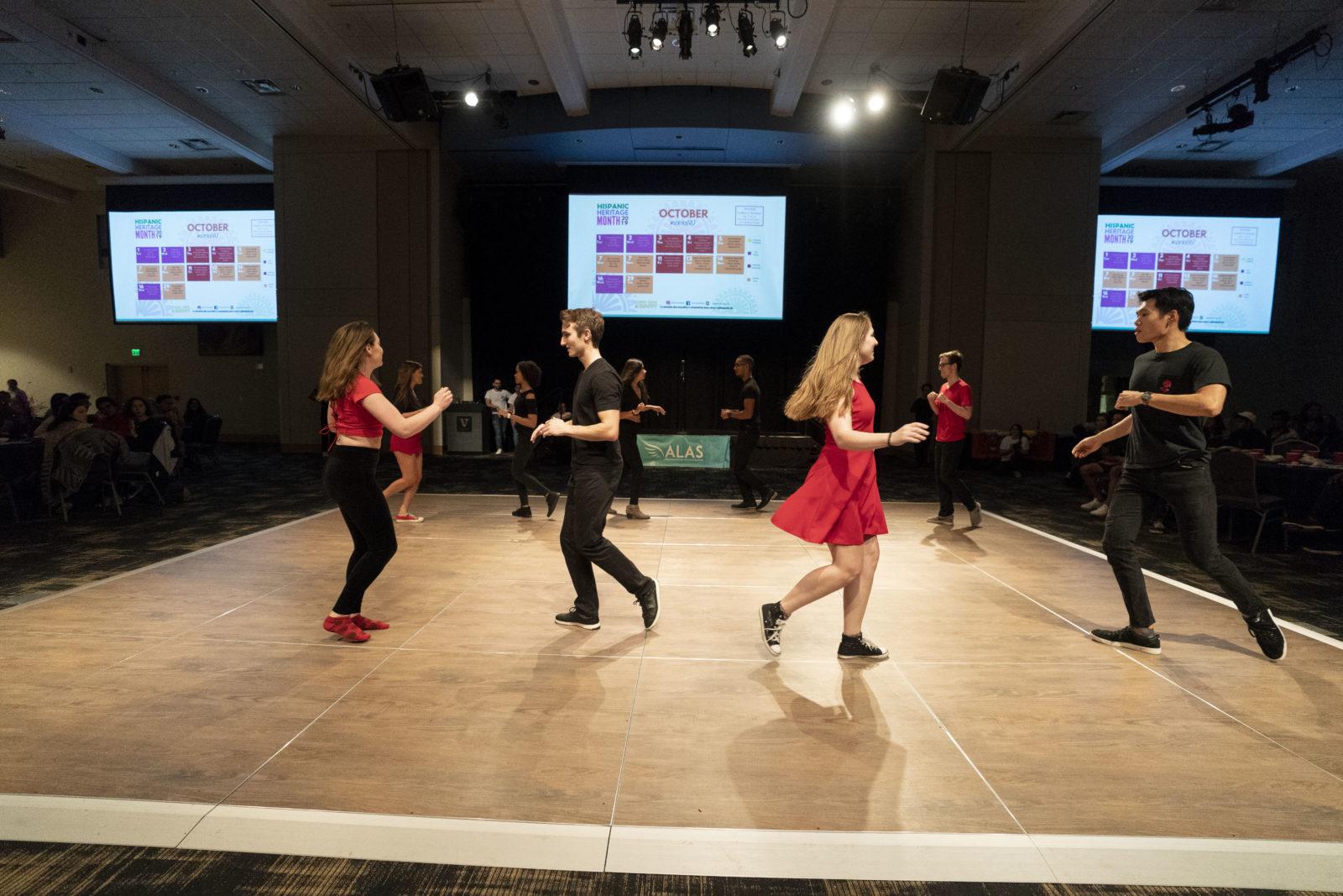 Students dancing at Sabor Latino (Joe Howell/Vanderbilt University)