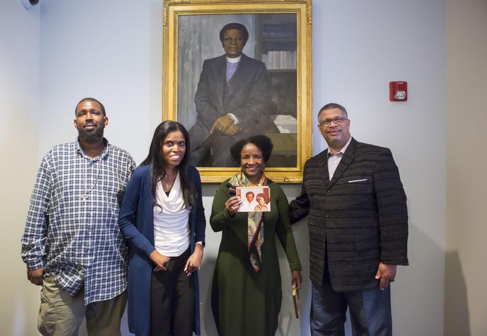 Family of Bishop Joseph Johnson at the Vanderbilt Trailblazer portrait unveiling on Oct. 18. (Susan Urmy/Vanderbilt)