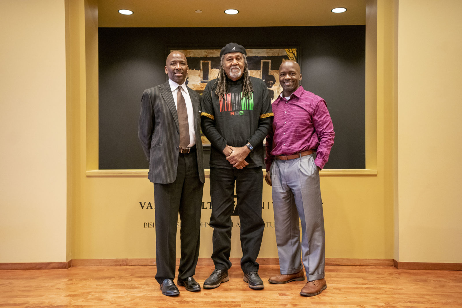 (L to r) Frank Dobson, associate dean of the Martha Rivers Ingram Commons; Raymond Winbush, first director of the Black Cultural Center; and Rosevelt Noble, assistant dean of residential colleges and director of the Black Cultural Center. (John Russell/Vanderbilt)