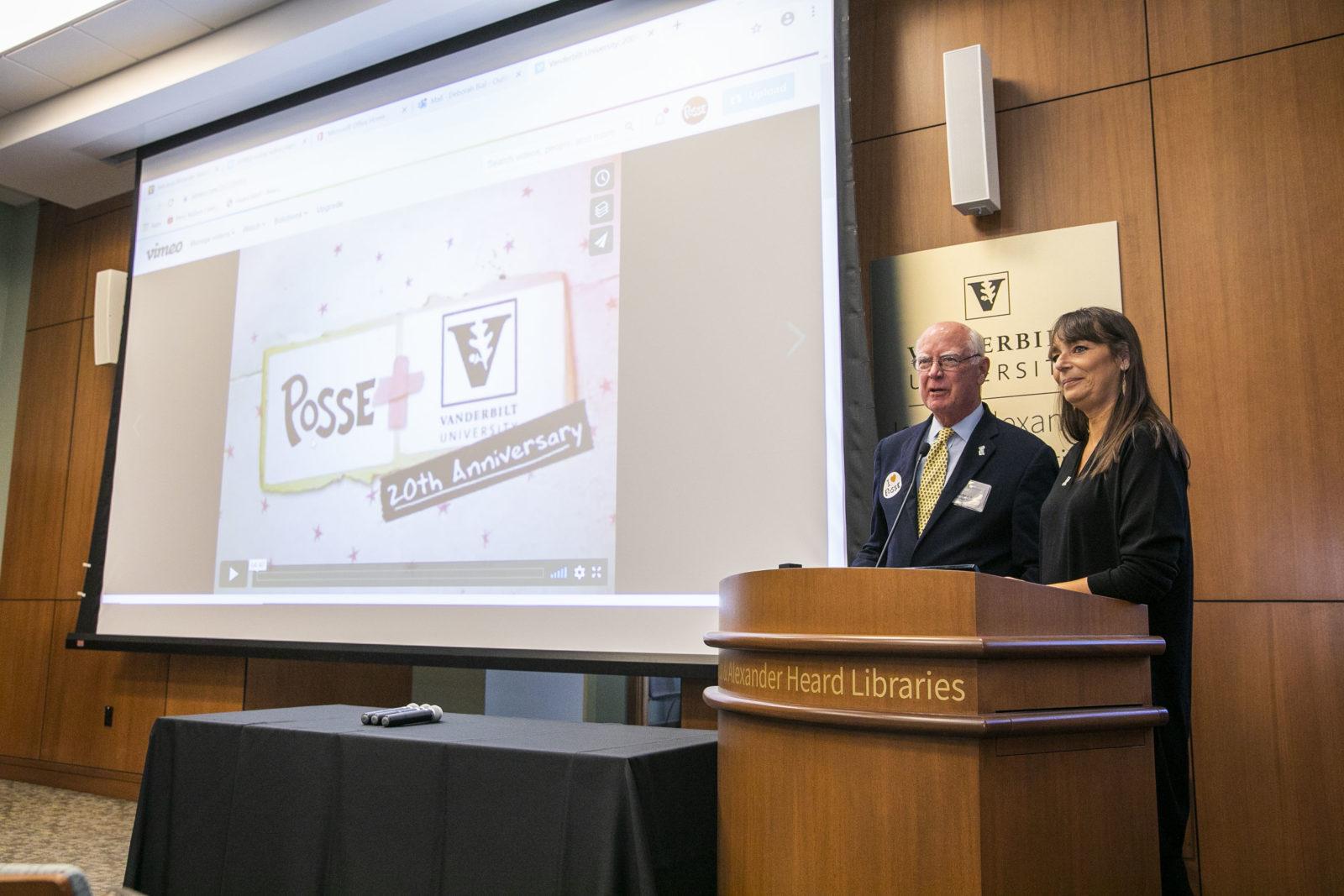 Deborah Bial, Posse's president and founder, and Michael Ainslie, trustee emeritus at Vanderbilt University spoke at the Posse 30th anniversary event. (Anne Rayner/Vanderbilt)