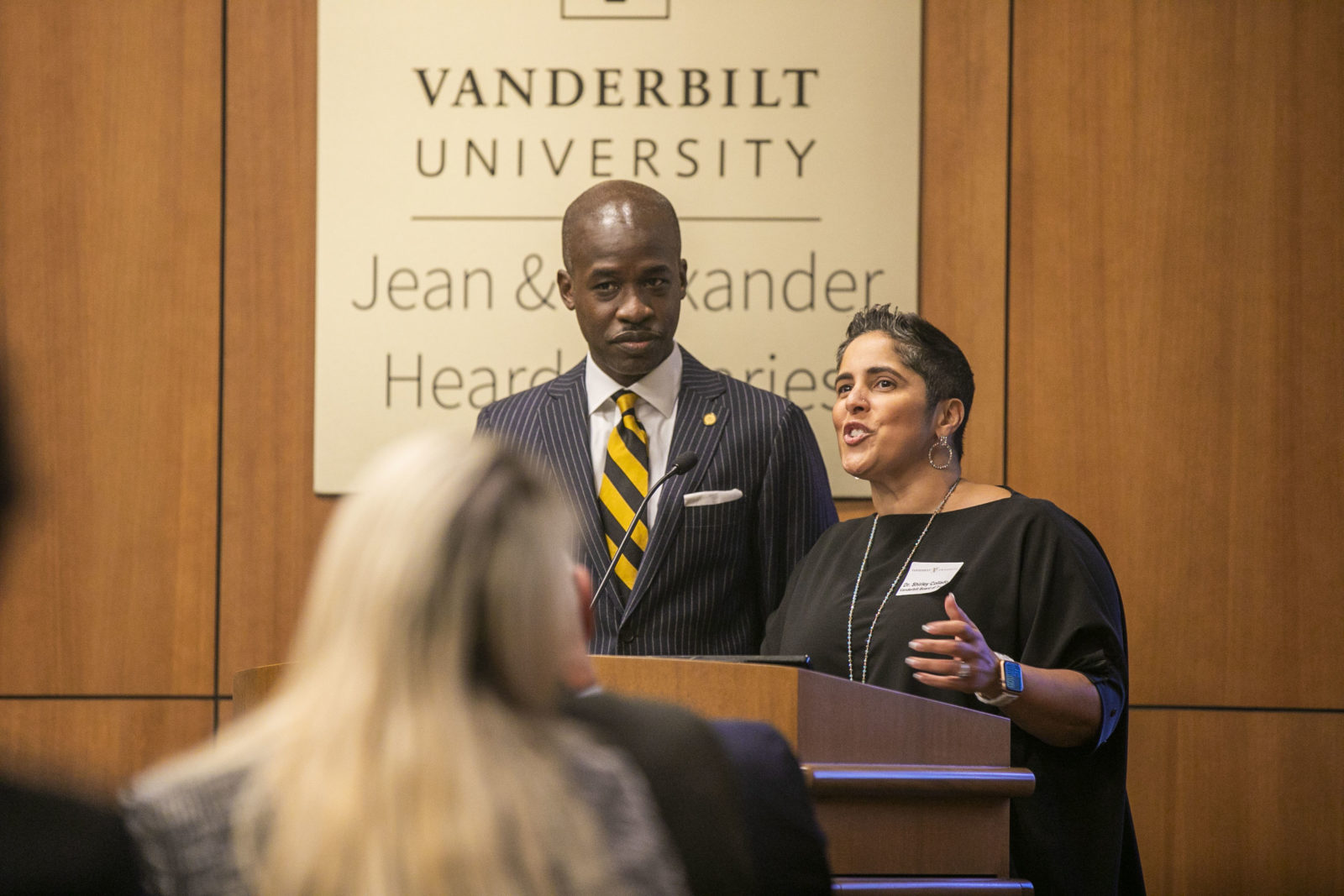 Shirley M. Collado, BS'94 and Kito Huggins, BS'96, JD'99, spoke at the Posse Scholars program 30th anniversary celebration (Anne Rayner/Vanderbilt)