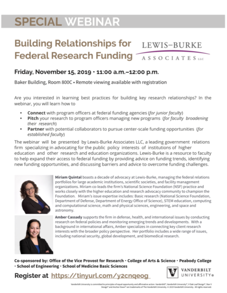 Building Relationships for Federal Research Funding event flyer