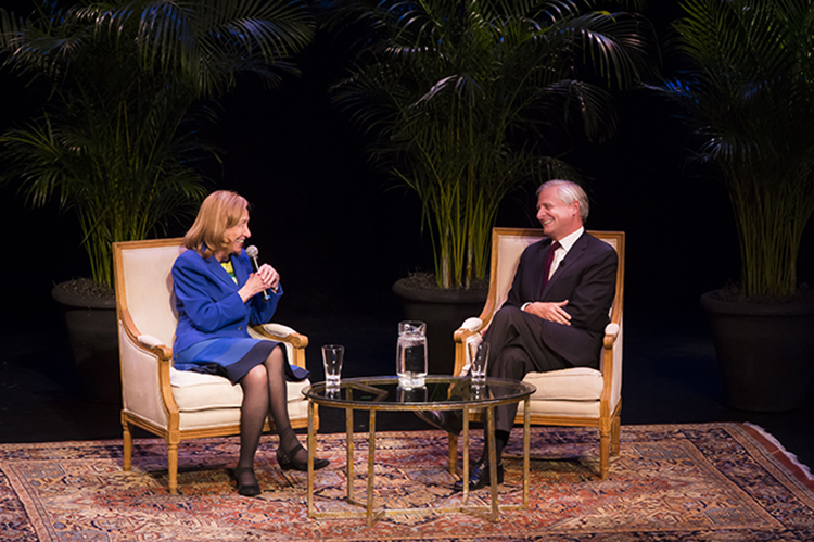 "Pulitzer Prize-winning presidential historians Doris Kearns Goodwin (left) and Jon Meacham discussed ""Lessons of Presidential Leadership"" Oct. 31 in Ingram Hall of Blair School of Music. (Susan Urmy/Vanderbilt)"
