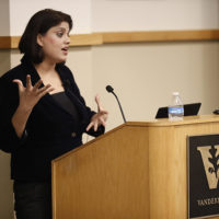 Patterson Fellow Supriya Vani delivered the annual Frank Armstrong Crawford Lecture on Oct.30. (photo by Wade Payne)
