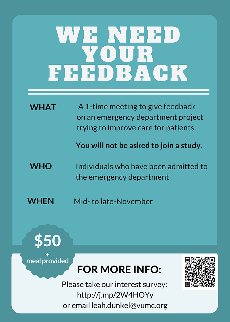 Emergency Department feedback project flyer