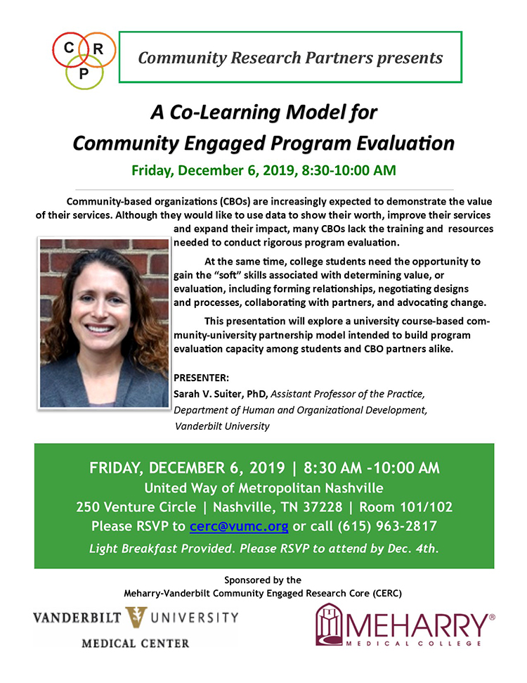 CERC flyer featuring Sarah Suiter presentation