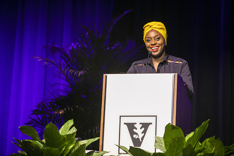 Renowned author Chimamanda Ngozi Adichie spoke to a capacity crowd at Langford Auditorium on Nov. 21 for the Chancellor's Lecture Series. (Anne Rayner/Vanderbilt)