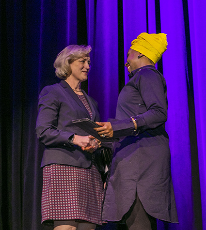 Interim Chancellor and Provost Susan R. Wente (left) welcomed Chimamanda Ngozi Adichie to the stage for her Chancellor's Lecture Series address on Nov. 21. (Anne Rayner/Vanderbilt)