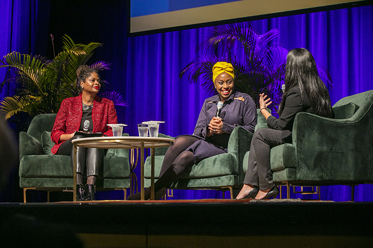 Following her presentation, Adichie (center) engaged in a question-and-answer session with faculty member Tracey Sharpley-Whiting (left) and graduate student Arelis Benítez. (Anne Rayner/Vanderbilt)