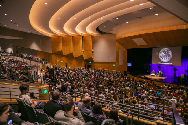Students, faculty, staff and community members filled Langford Auditorium for former Vice President Al Gore's presentation on the global climate crisis (Anne Rayner/Vanderbilt University)