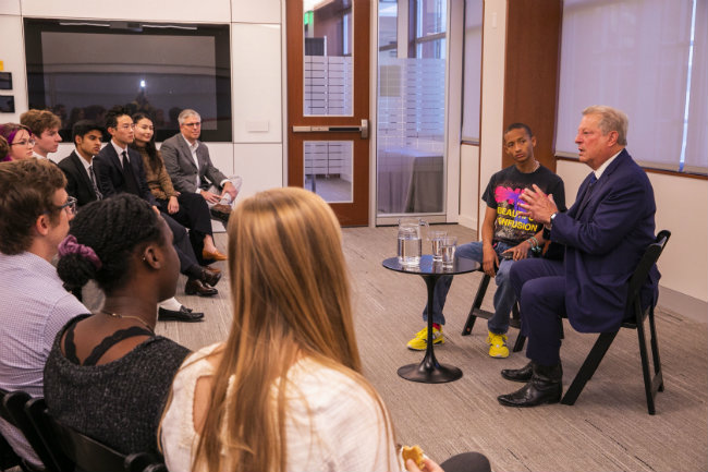 Former Vice President Al Gore and climate activist Jalen Smith (right) conduct at Q&A with Vanderbilt students prior to Gore's presentation at Langford Auditorium (Anne Rayner/Vanderbilt University)