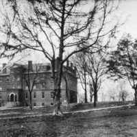 Centennial Hall, left, was Roger Williams University's main building. To its right was Mansion House, which stood approximately where the Wyatt Center (formerly Social-Religious Building) now stands on the Peabody campus. Mysteriously, both buildings burned in 1905, leading to the school's move and Peabody's acquisition of the property. (Library of Congress)