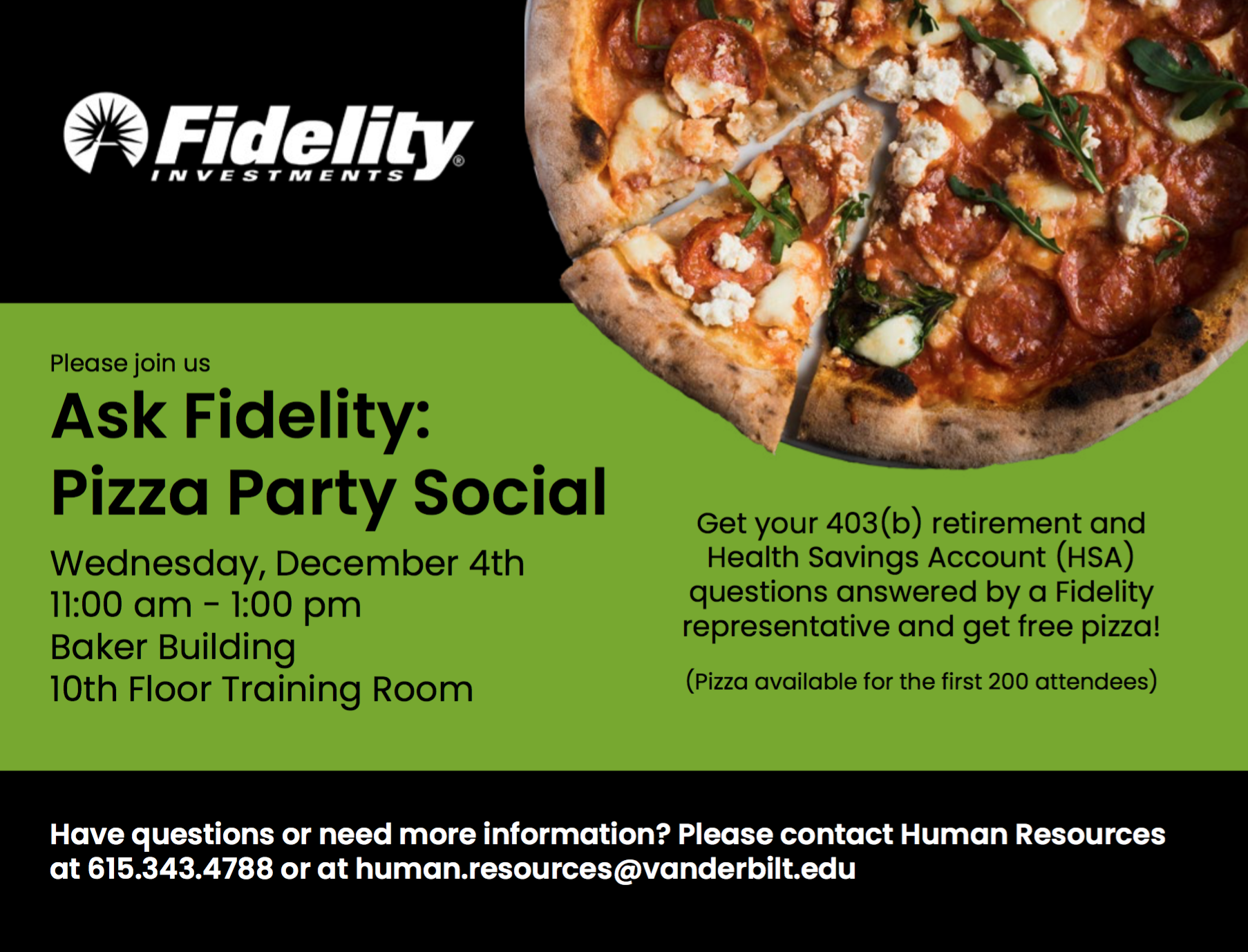 Human Resources pizza party flyer