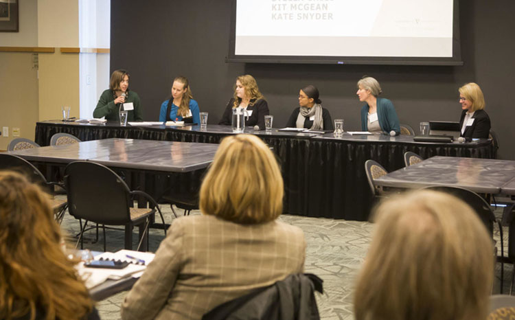 Panelists at the NASEM Action Collaborative satellite meeting on Nov. 19 included (l-r) Stella Child, Kate Snyder, Kit McGean, Taylor Carnes, Olivia Kew-Fickus and Tracey George. (Susan Urmy/Vanderbilt)