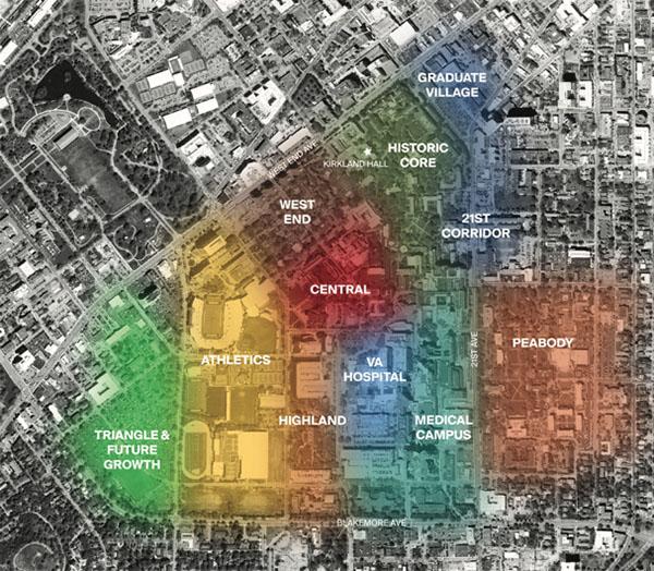 Connectivity between campus neighborhoods is key to the university's planning efforts. (Vanderbilt University)