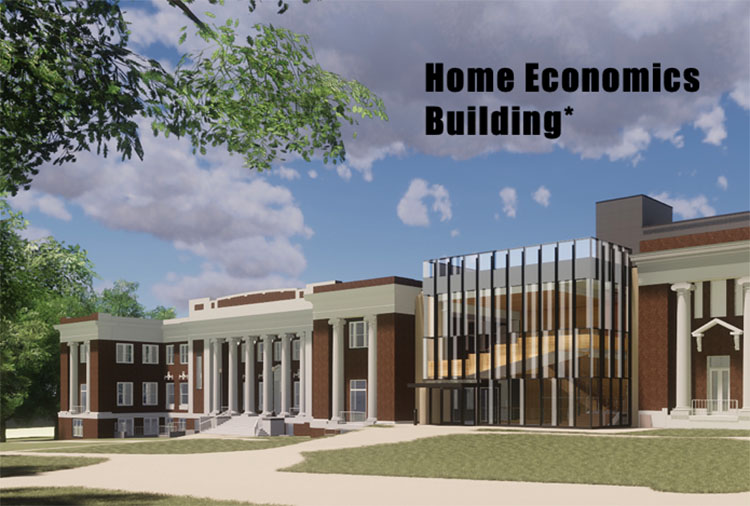 Rendering of the renovated Home Economics Building and new connector building (right). (Vanderbilt University)