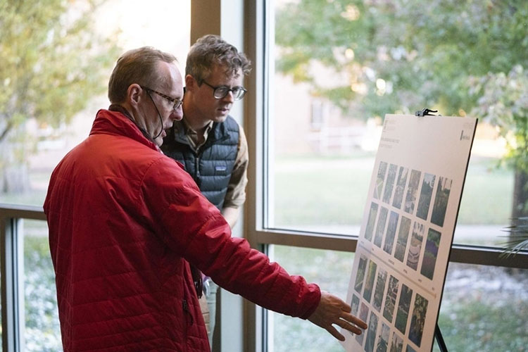 Those in attendance at the Nov. 12 town hall were invited to participate in an interactive exercise reimagining outdoor spaces in the Central Neighborhood. (Joe Howell/Vanderbilt)