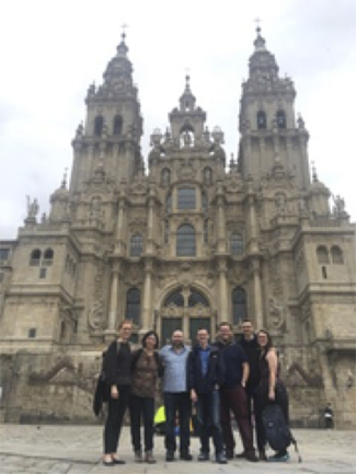 Alison Lutz (far right), a spring 2019 Travel Grant awardee, traveled to Santiago de Compostela, Spain, to attend the Liberation Theologies and Decolonial Thought Summer Institute. (photo courtesy of Alison Lutz)