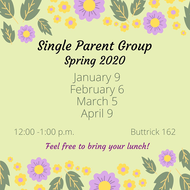 Single Parent Group Spring 2020 meeting schedule