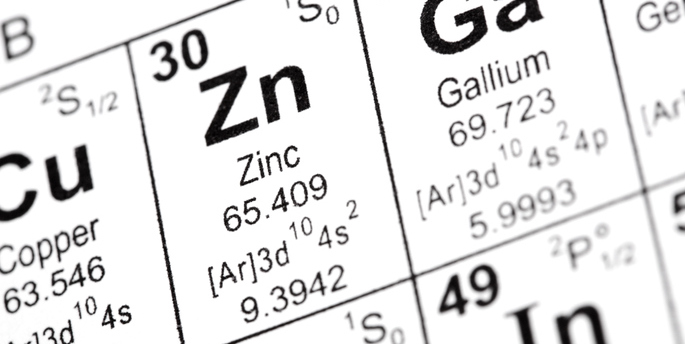 Chemical element symbol for zinc from the periodic table