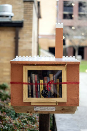 Vanderbilt photographer Joe Howell took this photo of a Little Free Library that is shaped like Kirkland Hall