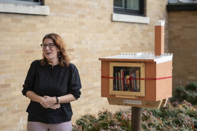VU Press Director Gianna Mosser speaks at ribbon-cutting for new Little Free Library