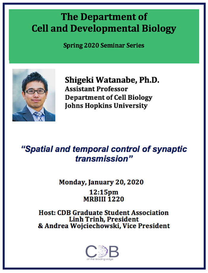 "Shigeki Watanabe, assistant professor in the Department of Cell Biology at Johns Hopkins University, will discuss ""Spatial and Temporal Control of Synaptic Transmission"" on Monday, Jan. 20, beginning at 12:15 p.m. in MRBIII, Room 1220."