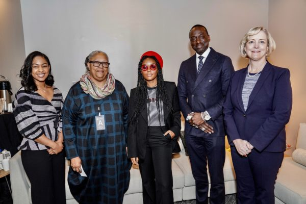 (L to r) Black Student Association President Mika Williams, Divinity School Dean Emilie M. Townes, Janelle Monáe, Yusef Salaam and Interim Chancellor and Provost Susan R. Wente. (John Russell/Vanderbilt)