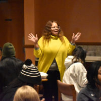 Director of Residential Experience Traci Ray speaking with participants on the Freedom Ride Tour (Jalen Blue/Vanderbilt)