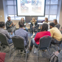 """MLK Commemorative Series Teach-Ins in Sarratt with the Rev. Gretchen Person and Michael Mcray. Their teach-in was titled, """"The Courage to Speak Your Story and the Openness to Receive the Stories of Others."""" (John Russell/Vanderbilt University)"""