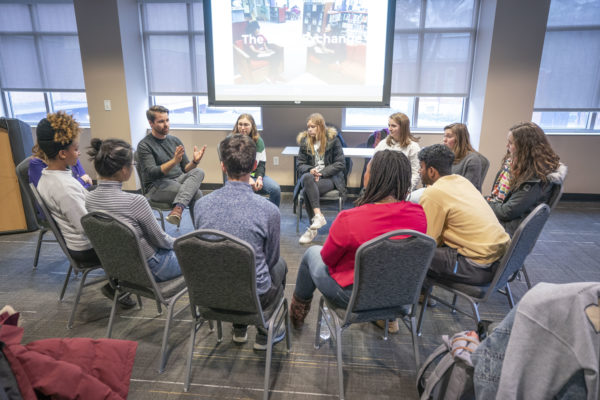 "MLK Commemorative Series Teach-Ins in Sarratt with the Rev. Gretchen Person and Michael Mcray. Their teach-in was titled, ""The Courage to Speak Your Story and the Openness to Receive the Stories of Others."" (John Russell/Vanderbilt University)"