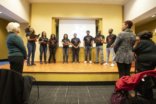 Melanated A Cappella performed at the MLK Commemorative Series Kickoff event. (Vanderbilt University/Joe Howell)
