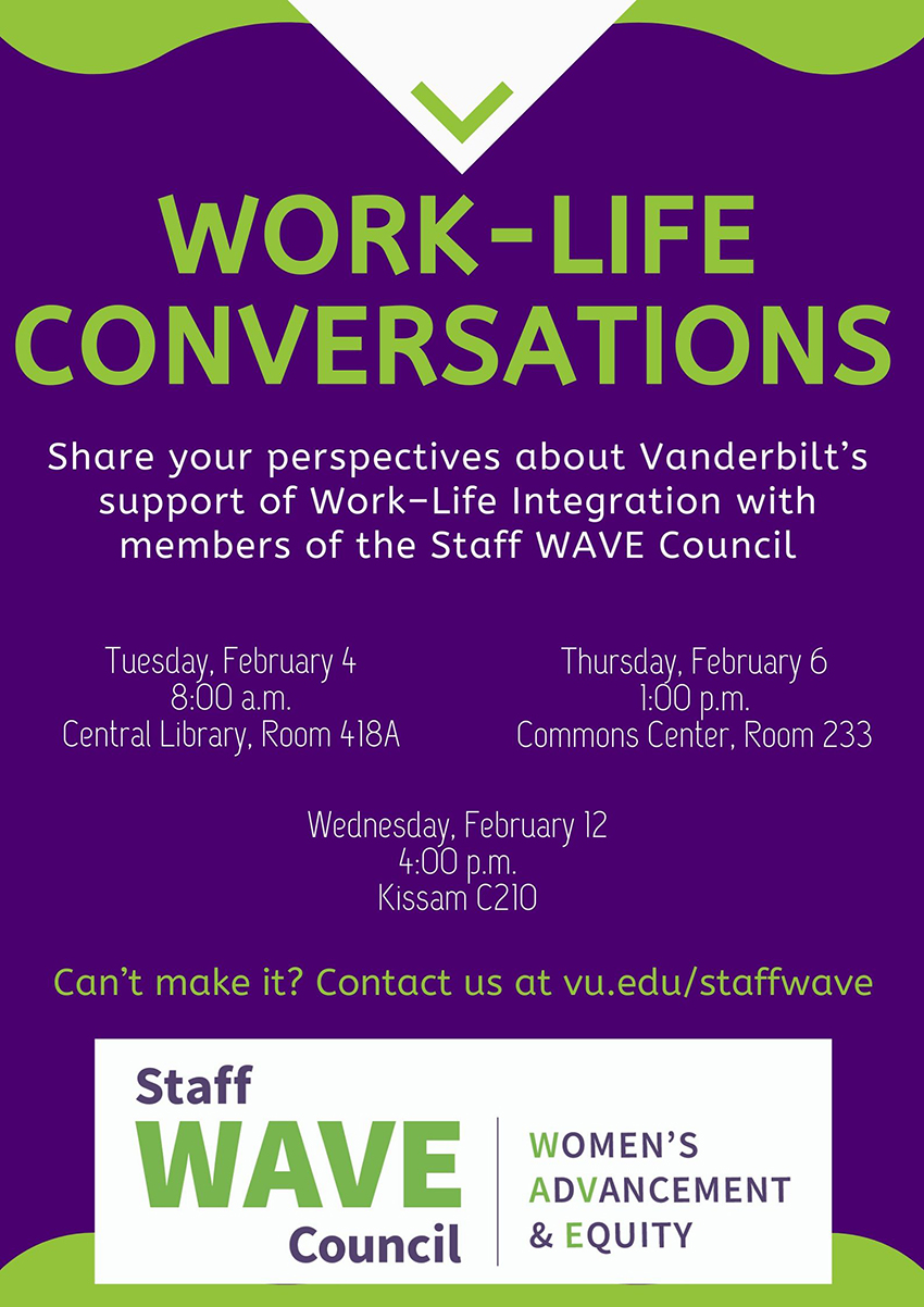 Staff WAVE Council to host work-life conversations Feb. 4, 6, 12
