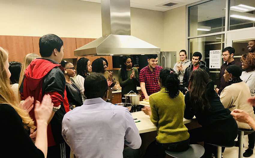 """Cooking and Kreyòl"" at the David Williams II Recreation and Wellness Center demonstration kitchen is part of Haiti Week Feb. 3-6 at Vanderbilt."