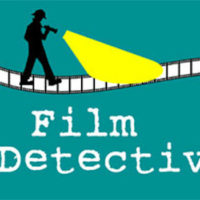 Game logo featuring a silhouette of a person casting the beam of a flashlight along a strip of film above the title 'Film Detective'