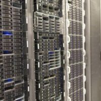 Close-up shot of stacked servers