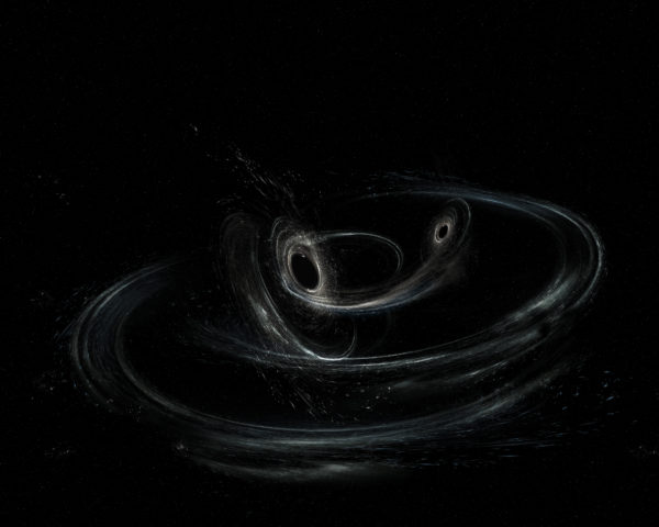 Illustration of black hole collision